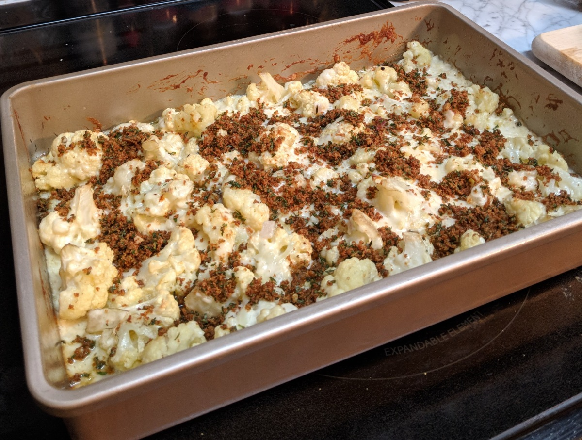 Roasted Cauliflower Gratin with GremolataCrumbs